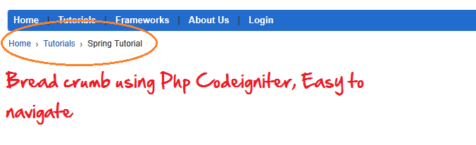 breadcrumb using php codeigniter