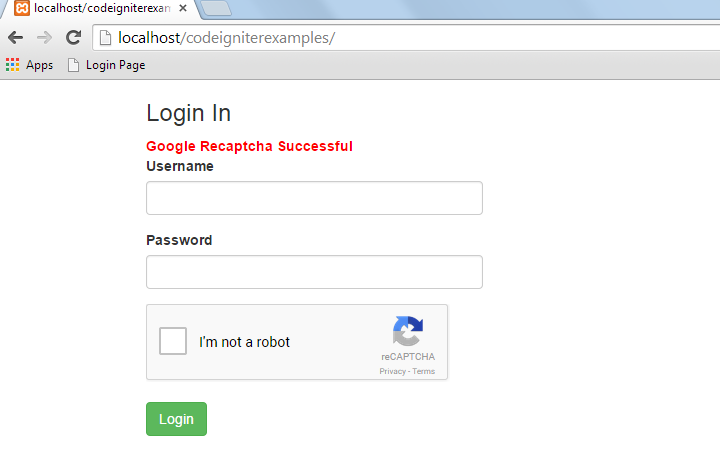 login page with google recaptcha successful