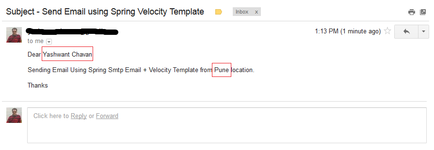send email using spring and velocity email template example