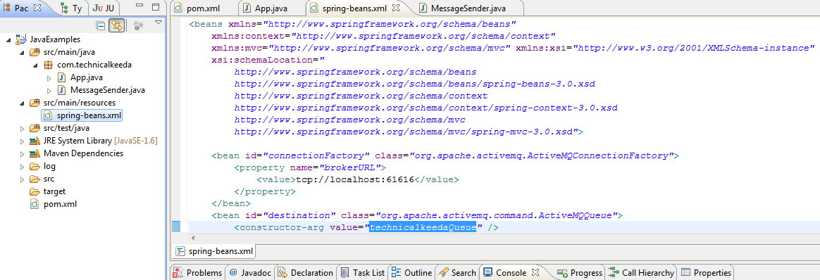 Hello World Spring Jmstemplate Example
